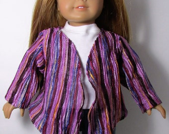 "18"" Doll Clothes fit American Girl Open Cardigan Sweater Jacket with Handkerchief Hemline PURPLE STRIPES"