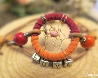 Adjustable Dreamcatcher bracelet,red,orange,beads,dream catcher, friendship bracelet, accessories,love,hippie,boho,native american