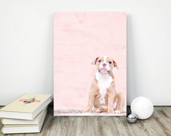 Dog Print, Pink Dog Wall Art, Print for Girls, Nursery Wall Art, Puppy Pink Print, Puppy Wall Art, Puppy Print, Decor for Girls Room
