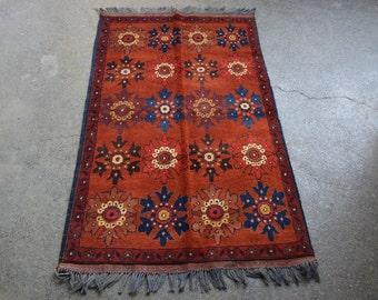 4'2 x 2'5 FT Beautiful Afghan Handmade Vintage KhalMahmadi Rug