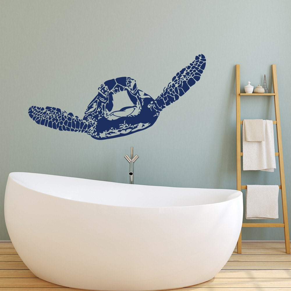 sea turtle decal marine decor turtle wall decal ocean decor. Black Bedroom Furniture Sets. Home Design Ideas