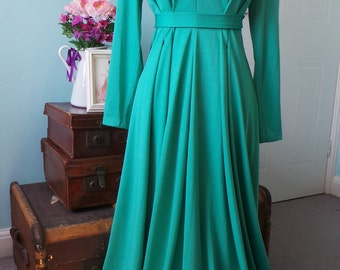 Trina Lewis and Marjon Couture Jewel Green 70's Vintage Evening Maxi Dress with Embellishment