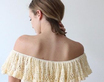 1970's Cream Knit Off-Shoulder Top