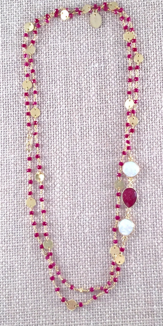 "Rosary Style Beaded Ruby  Necklace & Baroque Freshwater Pearl gemstones - 22K Goldplated-44"" long- Double Wrap-Layer - GRANADA II"