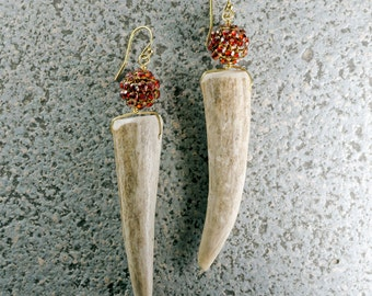 Antler Earrings - Gold-filled and Red Magma Crystal