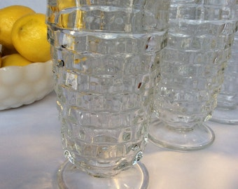 "Clear ""Whitehall Pattern"" Glasses, Vintage Footed Tumblers, Set of 8"
