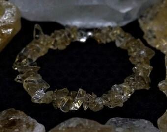Citrine Gemstone Chip Beaded Bracelet with Sterling Silver, Natural Gemstones!      (J#18)