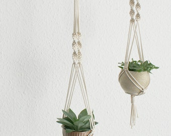 "Modern macrame hanging baskets set of 2 55 / 75 cm / / set of 2 modern macrame planthangers 22 ""/ 29"""