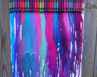 Neon Melted Crayon Art - RebeccaAnneCreations