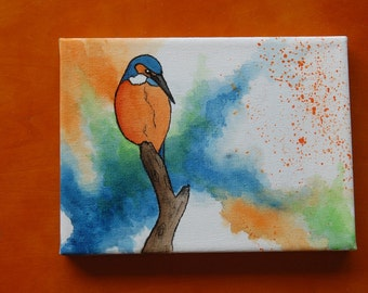 Kingfisher on a Branch: Mini Canvas & Easel