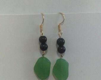 Black & Green Bead Dangle Drop Gold Earrings