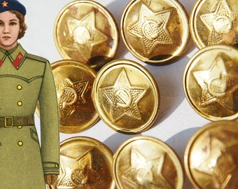 soviet military uniform buttons [new vintage!] golden red army stars, hammer and sickle set of buttons | made in USSR