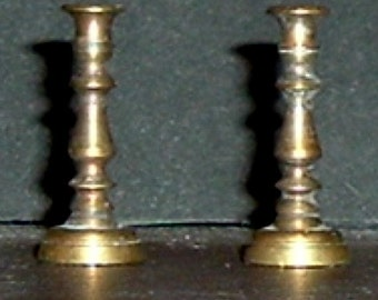 Miniature BRASS CANDLE STICKS (2) (Shackman)
