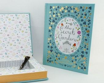 Book SAFE Secret Garden hollow book -Caledon blue green gold edges book box -Gardener -Bridesmaid gift -Childrens woodland Nursery Décor