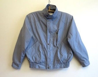 Vintage 1980s Bomber Grey Mens Jacket Grey Men's Bomber Jacket Men's Windbreaker Size 48