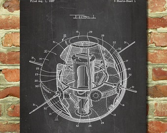 Earth Space Satellite Poster Outer Space Art, Outer Space Wall Decor, Rocket Ship, Outer Space Gift, Astronomy Gift, Patent Print P190