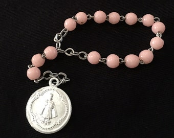 Vintage chaplet of the Infant Jesus, 12 bead rosary, pink beads