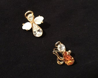 Pair of vintage angel pins with topaz and clear stone