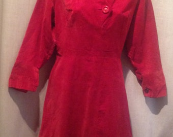 1950s Red Ladies Corduroy Dress / make - PEGGY PAGE - LONDON.