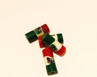 Mexican flag polymer clay beads - 8 Pieces - #100