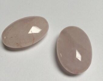 Rose Quartz Oval Beads - 4 Pieces - #353