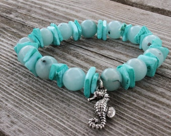 turquoise and glass beads with seahorse charm