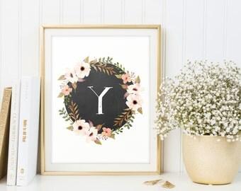 Floral monogram print, letter Y, monogram sign, digital poster, wall art, nursery decor, printable letter, newborn gift, baby shower gift
