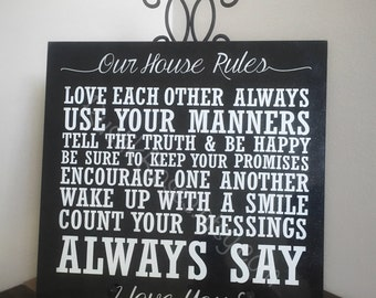 Our House Rules, Home Decor, Tile Decor, House Rules, Granite, Granite decor