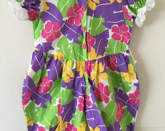 Vintage Baby Girls Romper Overalls Outfit Purple Pink Yellow Green Flowers w/ Eyelet Trim 18 - 24 Months