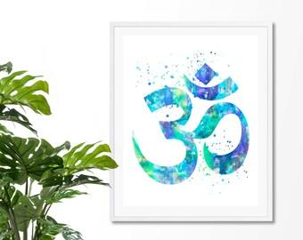 Om Symbol #5 Watercolor Art Print, Om Wall Art, Poster, Giclee,  Home Decor, Buddhist Symbol, Yoga, Zen decor