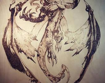 Pyrography Demonic Dragon