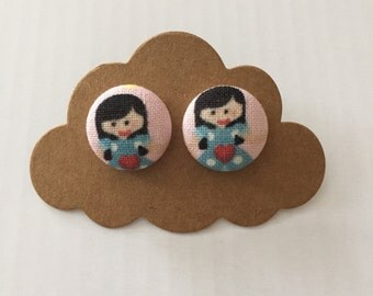 Handmade fabric covered 15mm earrings