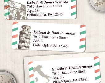 "Printable Vintage Italian Airmail Address Labels - White, Personalized 2 5/8"" x 1"" Address Labels, Editable PDF, Instant Download"