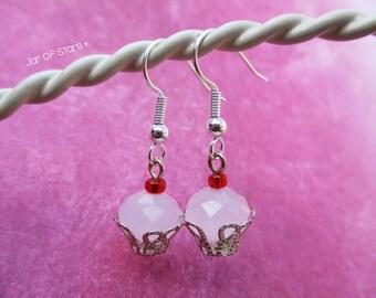 Pink cupcake earrings. Pink Cherry Cupcake Beaded Drop Earrings