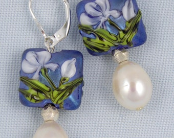 Square blue lampworked glass & freshwater pearl earrings.