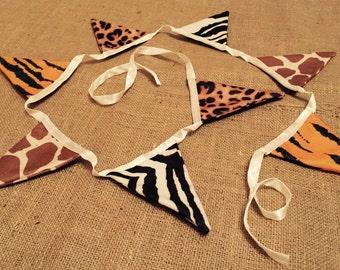 Handmade animal print bunting