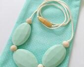 3 Stone silicone & wood teething/nursing necklace