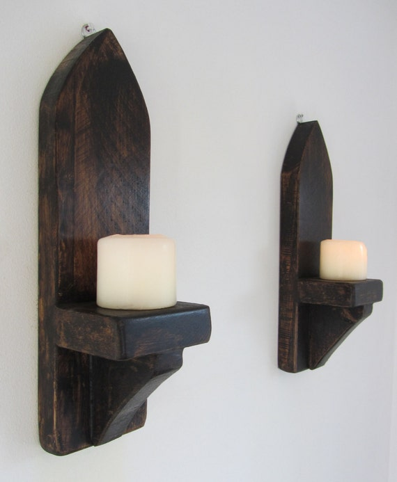 Gothic Style Wall Sconces : Pair of Reclaimed plank wood Gothic style wall sconces Candle