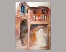 Original watercolour painting, 36x50cm, beautiful piece, from Tehran arch shaped pathway, suitable for gift, Persian art, by Faranak Rabbani