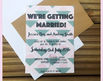 Geometric Retro Themed Wedding Invitation