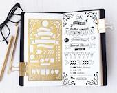 Planner Stencil, Bullet Journal Stencil, Banners and Flag Stencil - fits A5 journal & Midori Regular