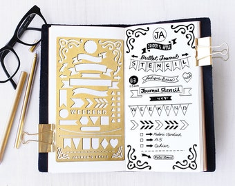 Planner Stencil, Bullet Journal Stencil, Banners and Flag Stencil - fits A5 journal & Midori Regular (Banner L)