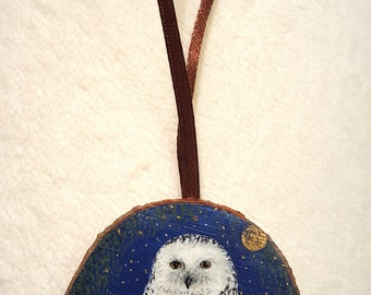 Special OFFER miniature paintings on tree pane - snowy owl