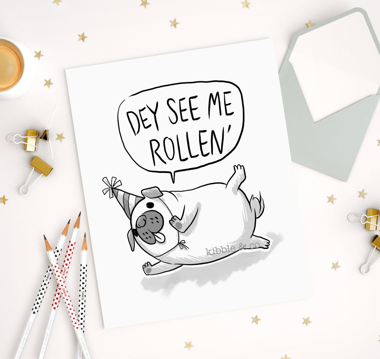 Pug Art Card Birthday Cards Greeting Cards Cute Card Cute
