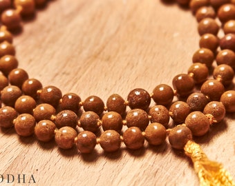 Siddha Sandstone Japa Mala - Brown- Rosaries, Meditation, Spirituality, Prayer, Healing, Religion and Awakening - For Meditation and Yoga