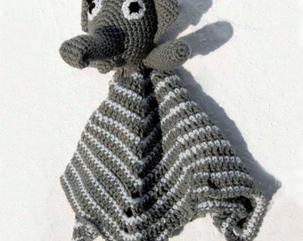 Ellie Elephant, Lovie Blanket, Gray Elephant Security Blanket, Hand Made Soft Toy, Granny Square Baby Blanket