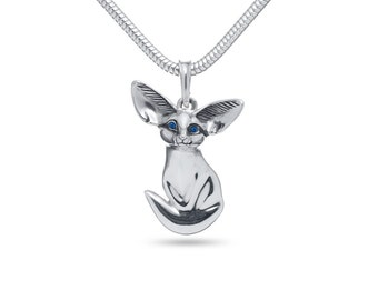 Foxes, Fox, Fennec fox pendant, Fox Necklace, Fox jewelry / Solid sterling silver (silver 925)