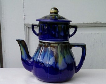 Vintage french ceramic coffee filter pot, rich royal blue.