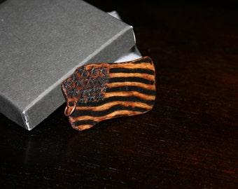 Wood burning flag of the United States