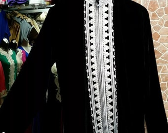 Stunning Bohemian Moroccan Tunic Jacket with Nehru Collar Black Velour  Small